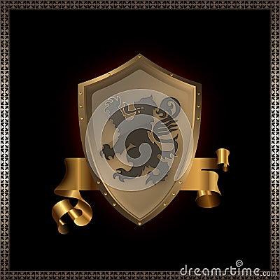Golden shield and ribbon.