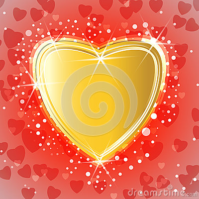 Golden shiny heart on miracle background