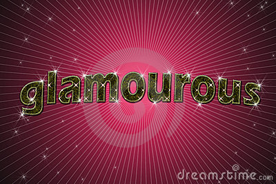 Golden sign, written word glamourous