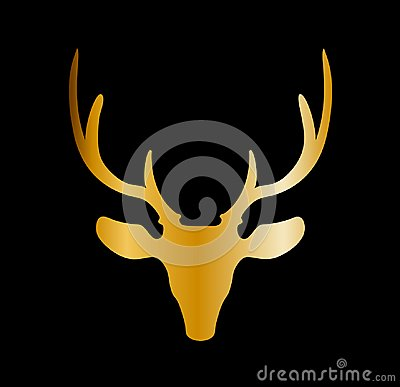 Free Golden Silhouette Of Reindeer Head With Big Horns Isolated On Bl Stock Images - 104853524