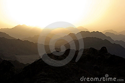 Golden silhouetted sunset in Sinai