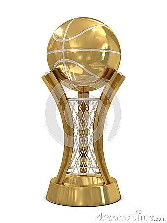 Golden - silver basketball award trophy with ball