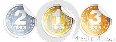 Golden, Silver, Bronze medals stickers.