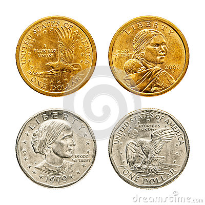 Golden & silver dollar coin