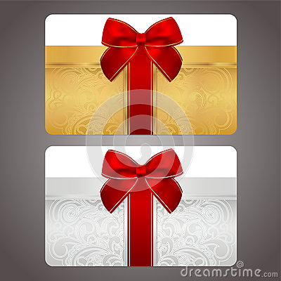 Golden and silver gift card with red bow (ribbons)