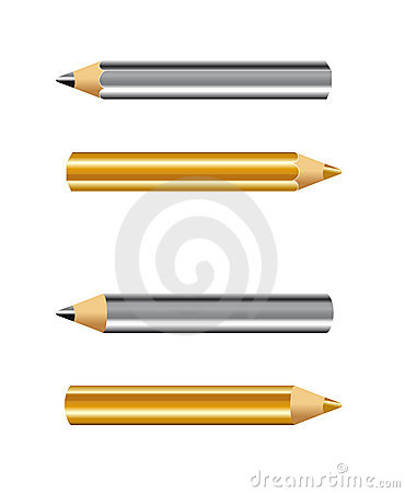 Golden and silver pencils