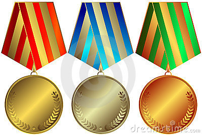 Golden, silvery and bronze medals