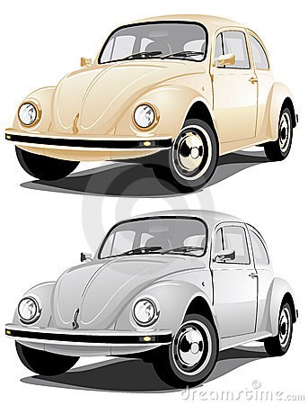 Golden and silvery retro car