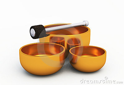 Golden Singing Bowls on white 02