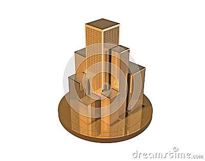 Golden skyscrapers.