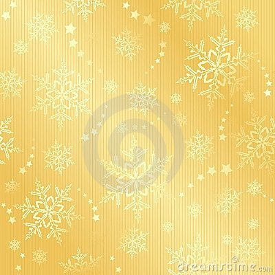 Golden snow flake winter pattern