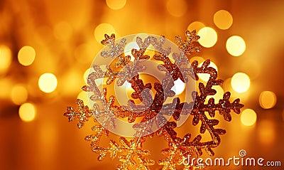 Golden snowflake Christmas tree decoration