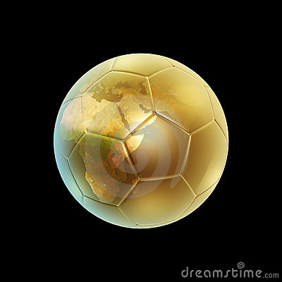 Golden soccer ball and globe