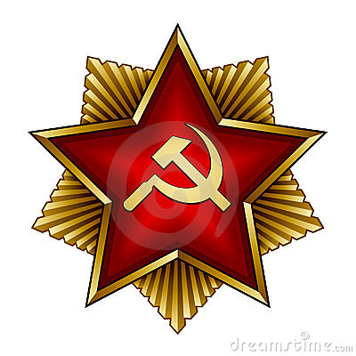 Golden soviet badge - red star sickle and hammer