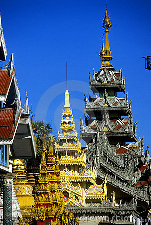 Golden spires of Buddhist stupas