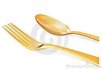 Golden spoon on white background