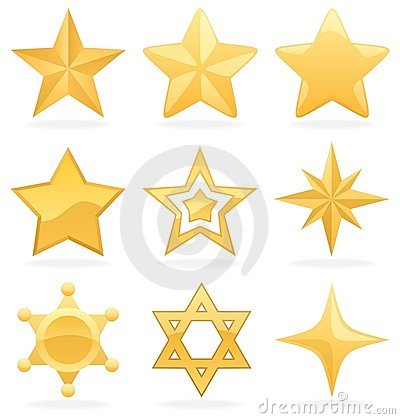 Free Golden Star Icons Royalty Free Stock Photos - 15295838