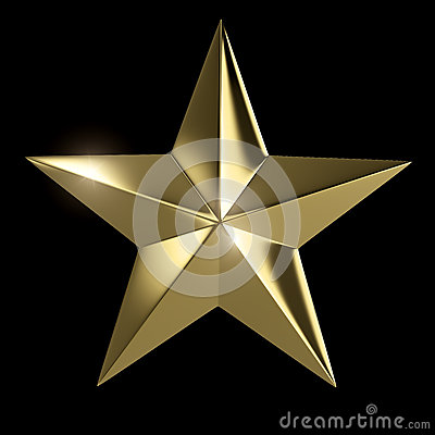 Golden star isolated