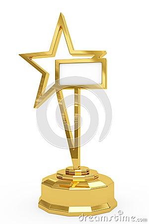 Golden star prize on pedestal