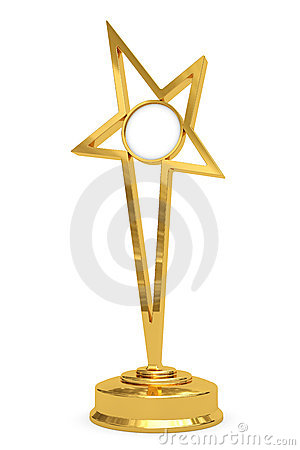 Golden star prize on pedestal with blank plate