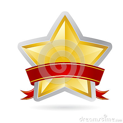 Golden star with red ribbon