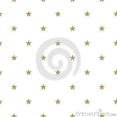 Golden Star Seamless pattern. Vector Illustration