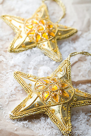 Golden star shape Christmas decorations