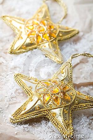 Golden star shape Christmas decorations