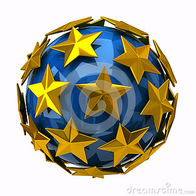 Golden stars on blue sphere