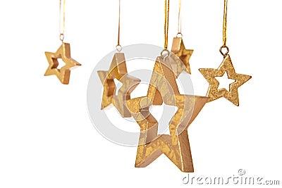 Golden stars christmas decoration