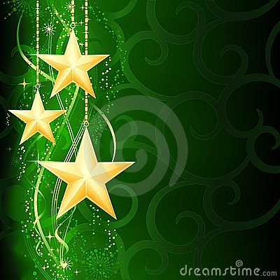 Golden stars on green background