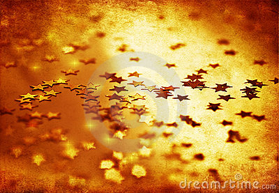 Golden stars grunge background