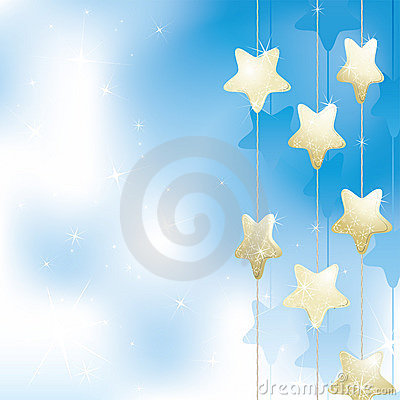 Golden stars on a light blue background
