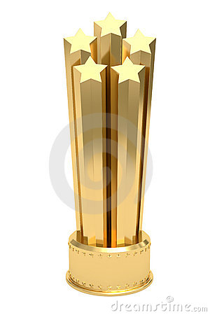 Golden stars prize on pedestal isolated on white