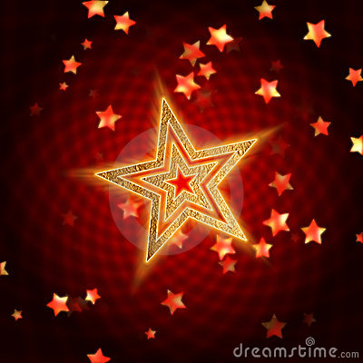 Golden stars with spiral in red