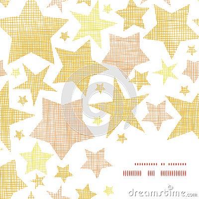 Golden stars textile textured frame corner pattern