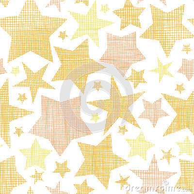 Golden stars textile textured seamless pattern
