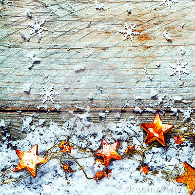 Free Golden Stars With Snow In A Rustic Xmas Background Royalty Free Stock Image - 44269916