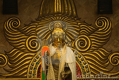 Golden statue  of Guan Yin Buddha 2.