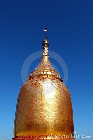 Golden stupa at the pagoda in Bagan, Myanmar