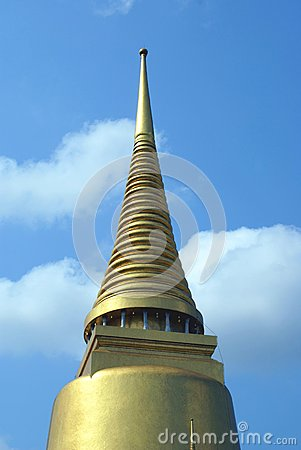 Golden stupa, Phra Sri Rattana Chedi, Wat Phra Kaew, Asia Stock Photo