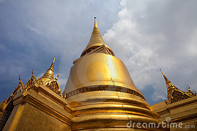 Golden Stupas at Grand Palace, Bangkok, Thailand