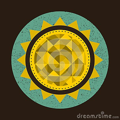 Golden sun in retro style with triangles. Vector Illustration