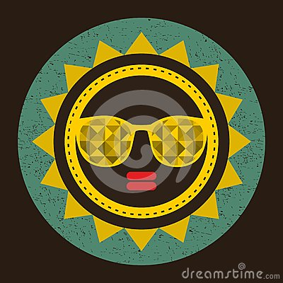 Golden sun with woman face in retro style. Vector Illustration