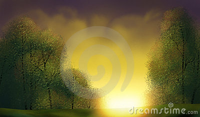 Golden Sunrise - Digital Painting