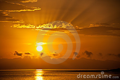 Golden sunrise over the sea