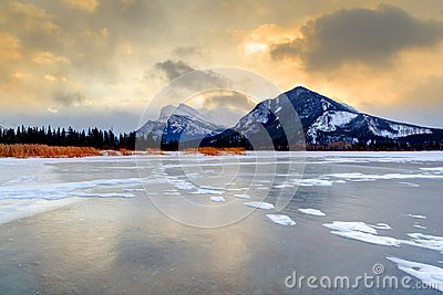 Golden Sunrise Over Vermilion Lakes, Banff National Park