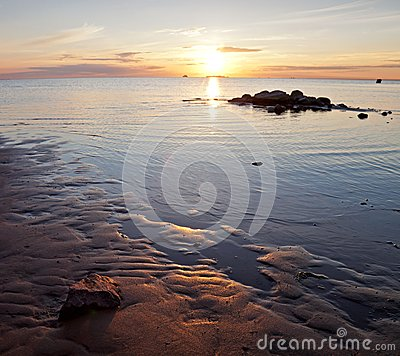 Golden sunset on the Baltic sea