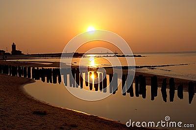 Golden sunset on beach