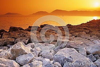 Golden sunset over rocks